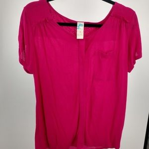Anthropologie C Keer Blouse Buckle Button Anthro